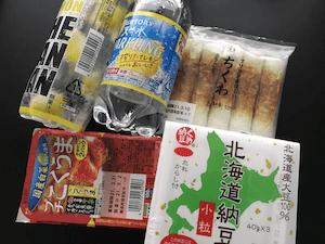 キムチ、ちくわ、納豆、炭酸水